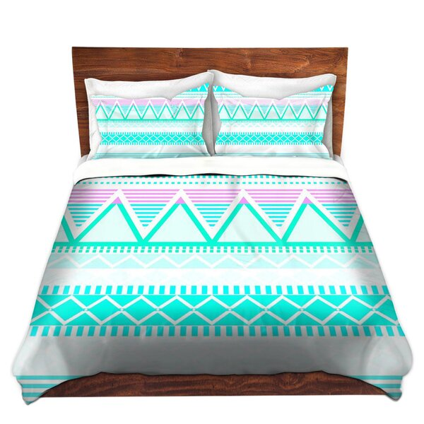 Scrivner Organic Saturation Bright Turquoise Tribal Microfiber Duvet Covers by Ebern Designs