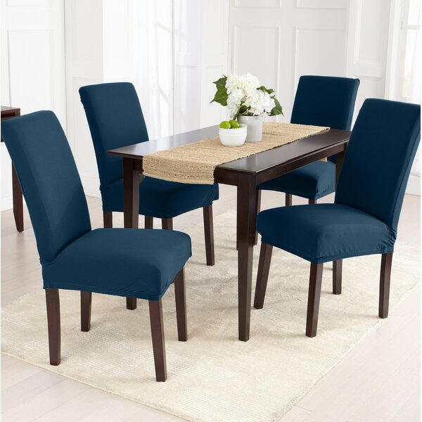 Jersey Knit Solid Room Dining Chair Slipcover (Set of 2) by Canora Grey