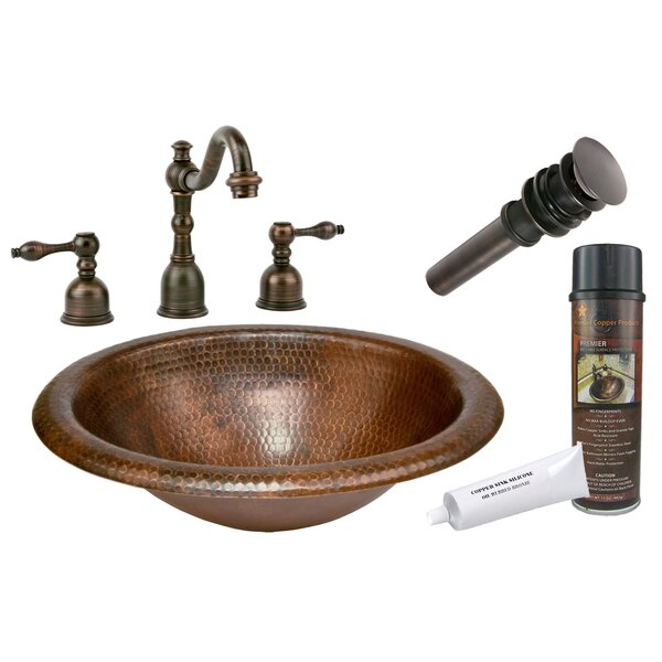 Wide Rim Metal Oval Drop-In Bathroom Sink with Faucet by Premier Copper Products