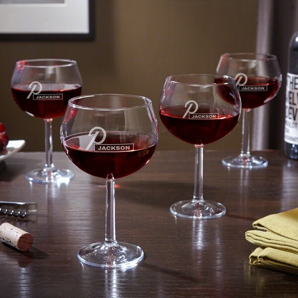 Beckett Etched Custom 17 Oz. Red Wine Glass (Set of 4) by Home Wet Bar