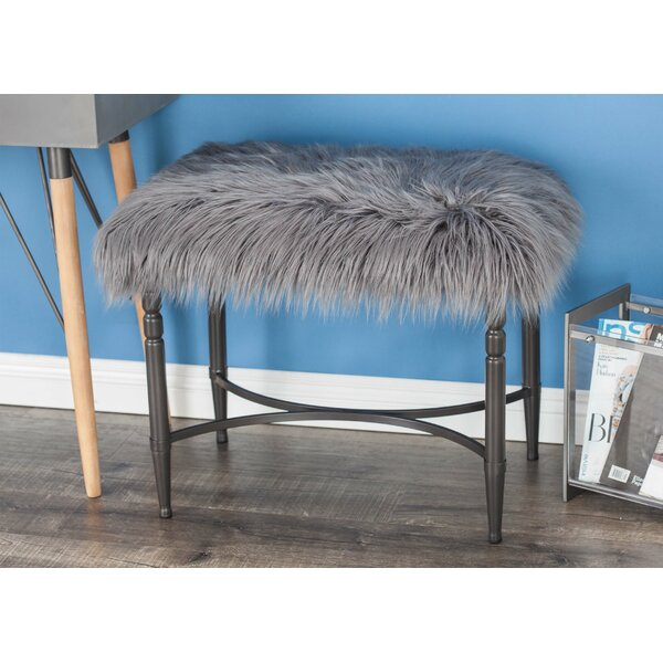 Metal Faux Fur Accent Stool by Cole & Grey