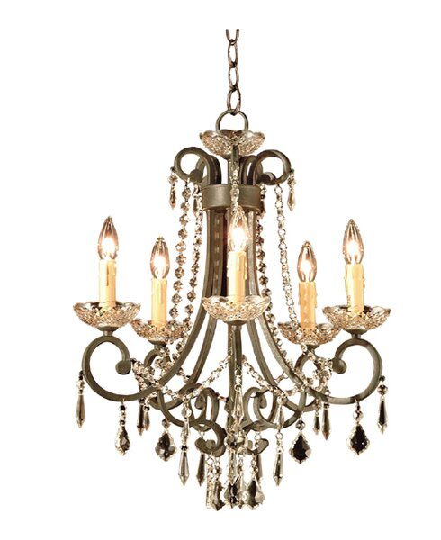 5 - Light Candle Style Empire Chandelier By JB Hirsch Home Decor