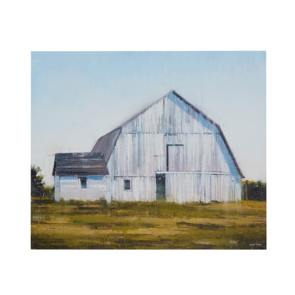 Old White Barn Painting Print on Canvas by August Grove