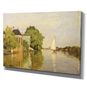 'Houses on the Achterzaan' by Claude Monet Painting Print on Wrapped Canvas by Wexford Home