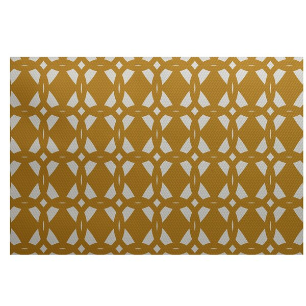 Singleton Geometric Print Gold Indoor/Outdoor Area Rug by Ivy Bronx