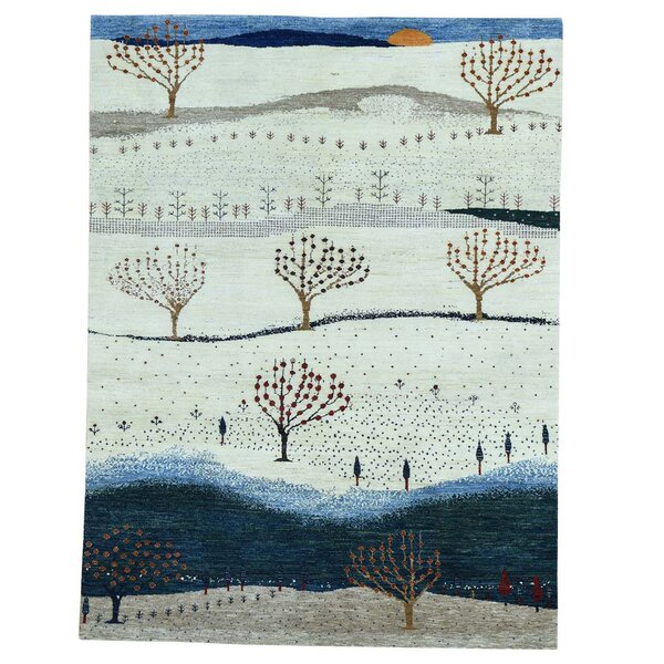 One-of-a-Kind Rotella Modern Folk Hand-Knotted Beige Area Rug by Loon Peak