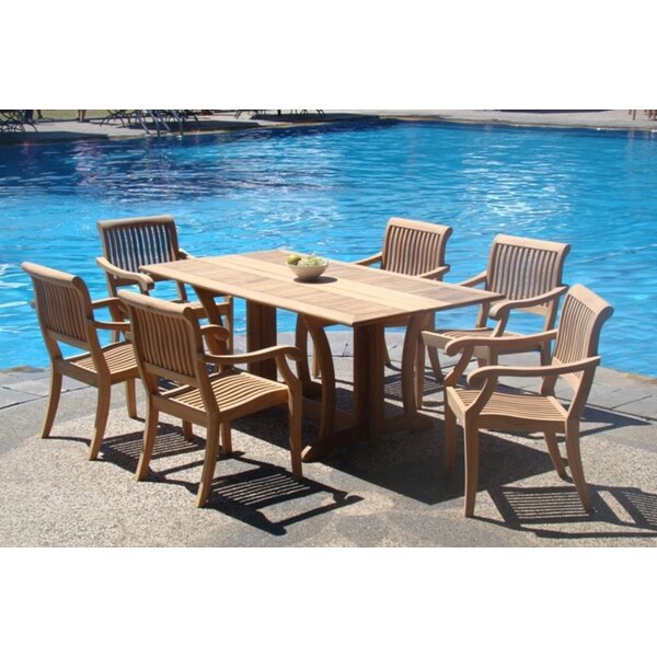 Mastropietro Luxurious 7 Piece Teak Dining Set by Rosecliff Heights