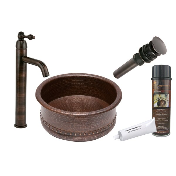 Oil Rubbed Bronze Metal Hand Hammered Circular Vessel Bathroom Sink with Faucet