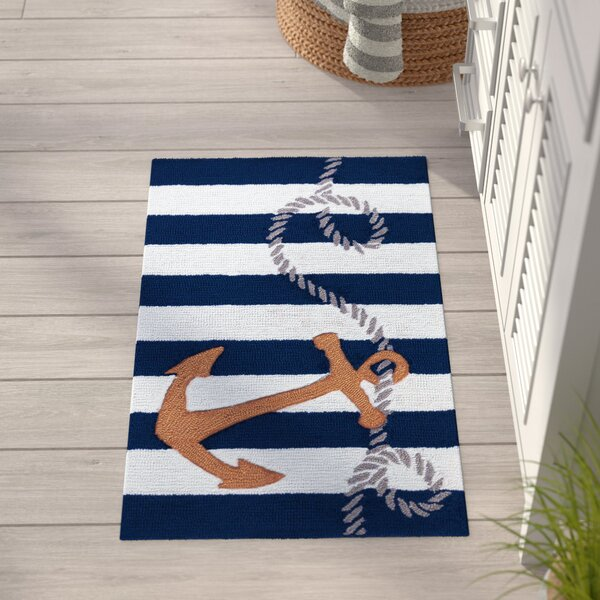 Morgan Hand-Tufted Navy Area Rug by Breakwater Bay