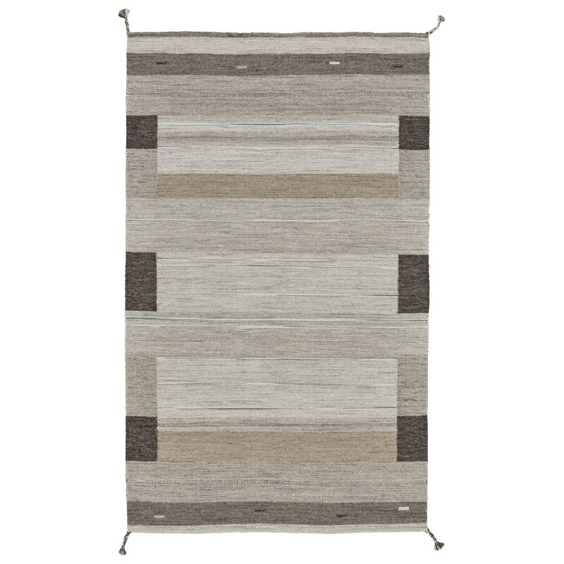 Ewalt Flat Woven Wool Gray Area Rug