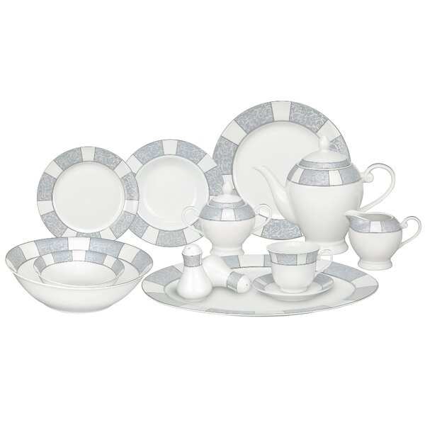 Domus Porcelain 57 Piece Dinnerware Set, Service for 8 by Lorren Home Trends