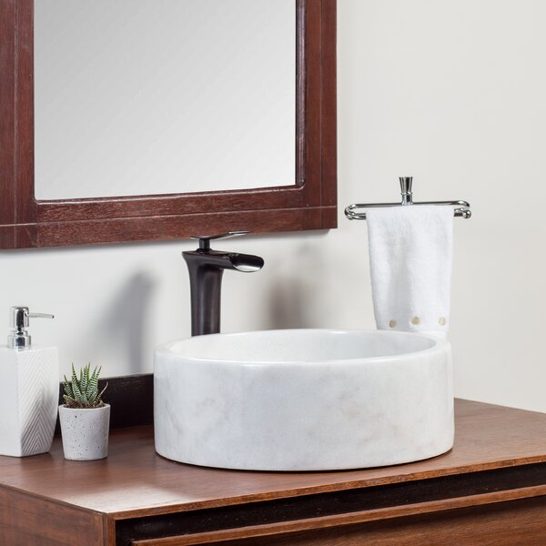 Ordu Stone Circular Vessel Bathroom Sink by Laguna Marble