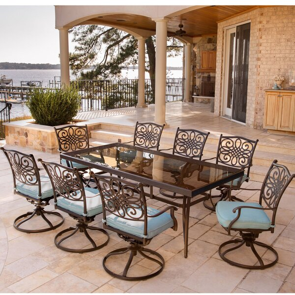 Carleton 9 Piece Dining Set with Cushions by Fleur De Lis Living