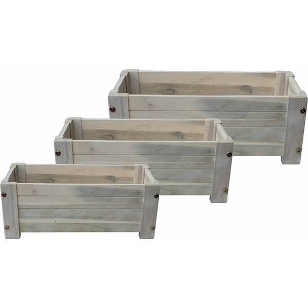 3-Piece Wood Planter Box Set by Happy Planter