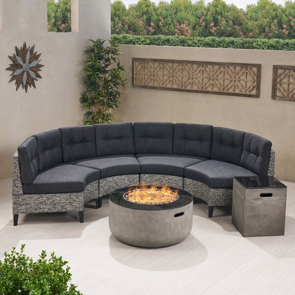 Detroit 6 Piece Rattan Sectional Seating Group with Cushions by Brayden Studio