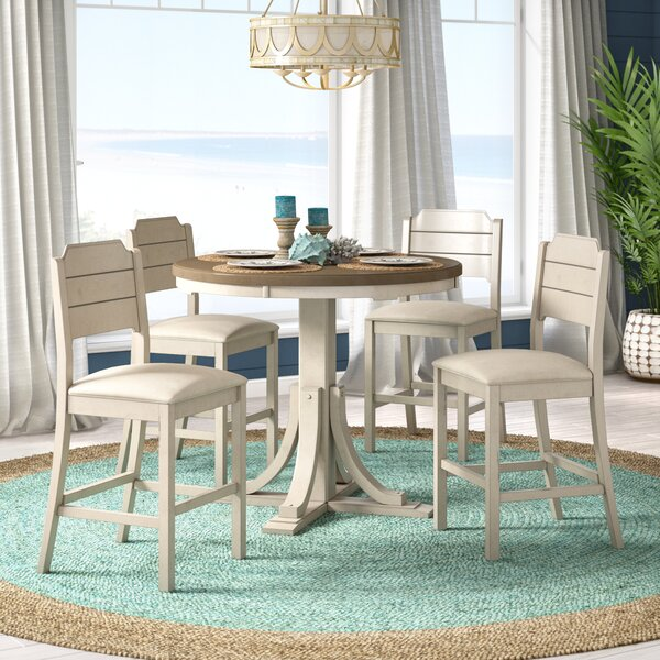 Kinsey Cottage 5 Piece Solid Wood Dining Set by Rosecliff Heights