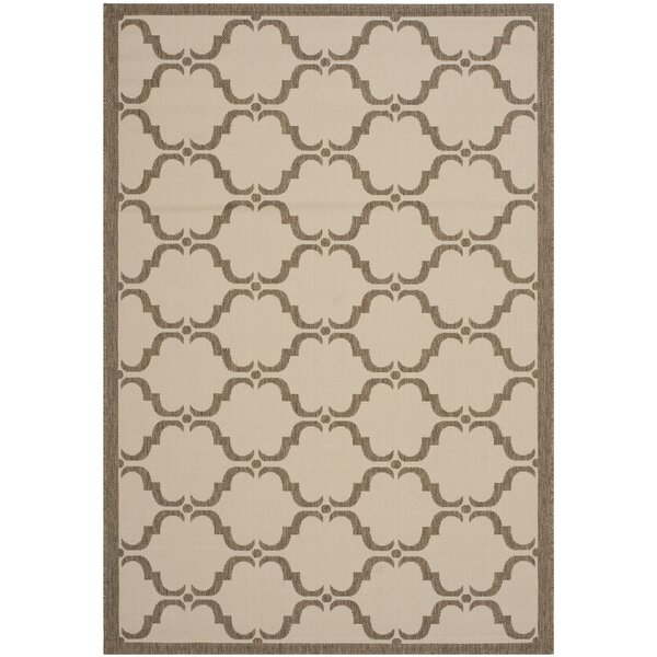 Plunkett Tile Beige/Brown Indoor/Outdoor Area Rug by Charlton Home