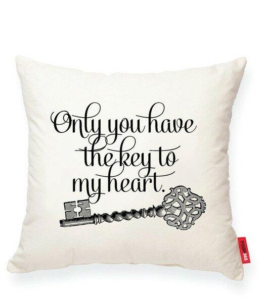 Luxury Vintage Key Cotton Throw Pillow by Posh365