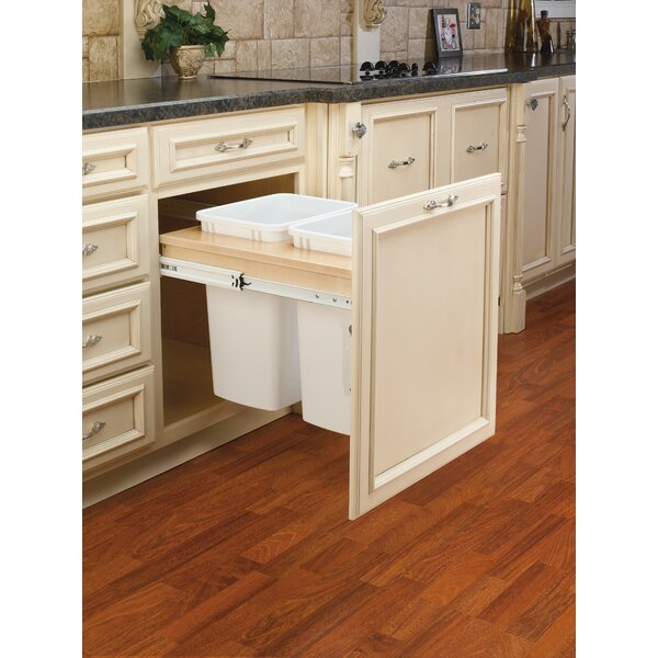Double Top Mount 8.75 Gallon Pull Out/Under Counter Pull Out/Under Counter Trash Can by Rev-A-Shelf