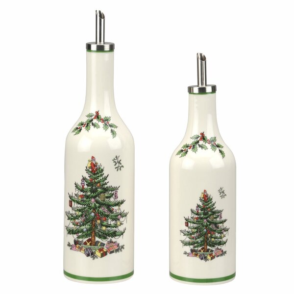 Christmas Tree 2 Piece Oil and Vinegar Drizzler Cruet Set by Spode