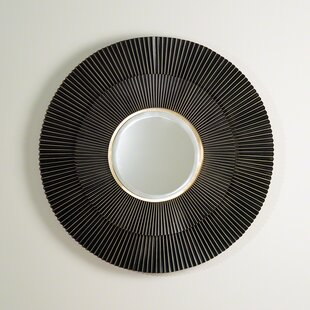 Corrigan Studio Round Steel Brass MDF and Mirror Wall Mirror