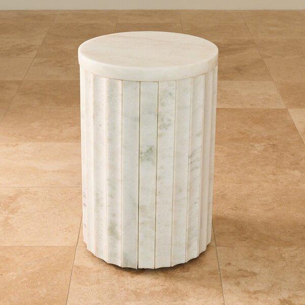 Marble Column End Table