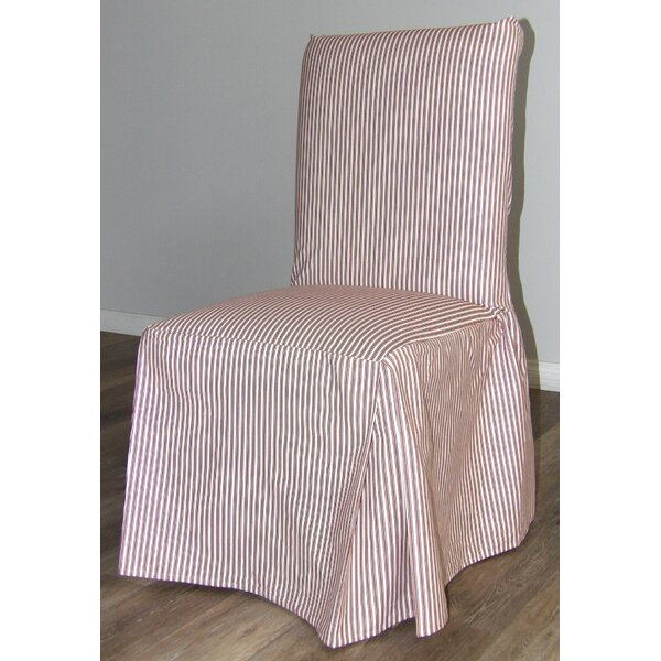 Ticking Stripe Long Box Cushion Dining Chair Slipcover by Rosecliff Heights