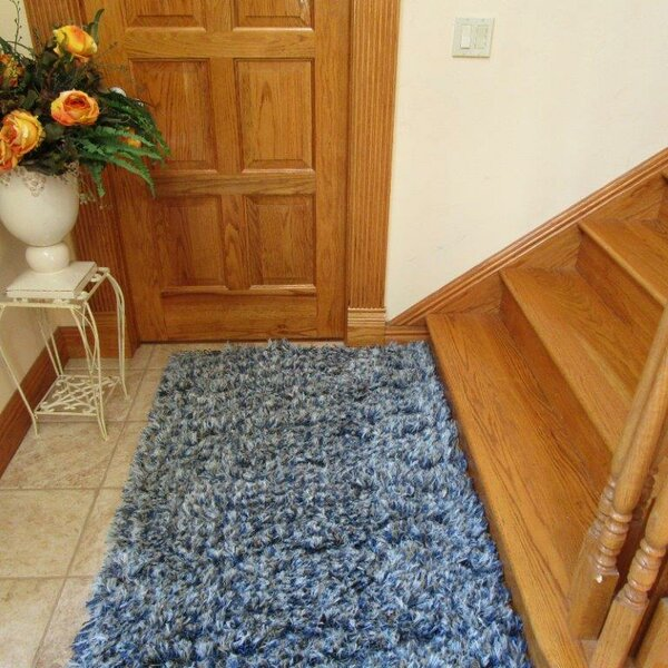 Kaius Wool Blue Area Rug by Latitude Run