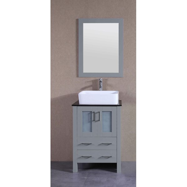 Catherine 24 Single Bathroom Vanity Set with Mirror by BosconiCatherine 24 Single Bathroom Vanity Set with Mirror by Bosconi