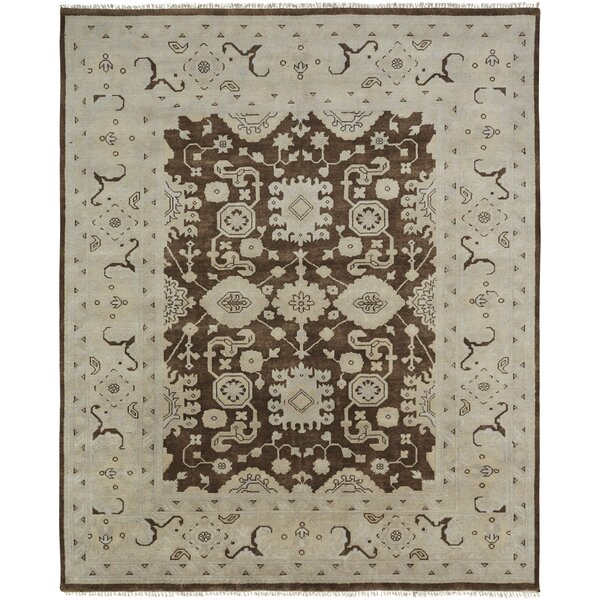 Zelida Hand Knotted Wool Brown/Ivory Area Rug by Darby Home Co