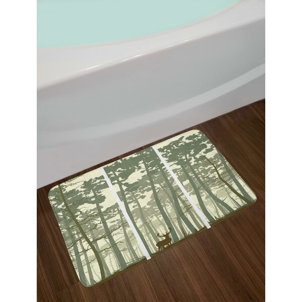 Vertical Stripes with Tall Trees and Lonely Deer Nature Illustration Bath Rug by East Urban Home
