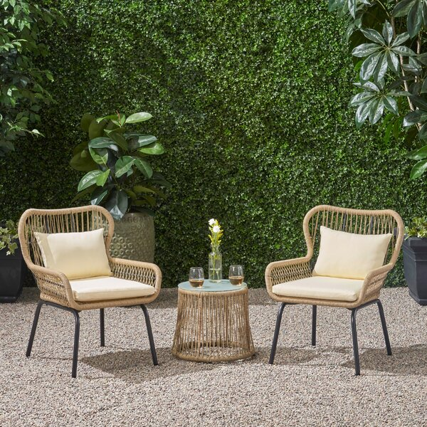 Mcclurg Patio 3 Piece Seating Group with Cushions by Bungalow Rose