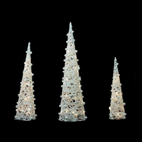 3 Piece Battery Operated Glittered LED Lighted Cone Tree Christmas Decoration Set by Northlight Seasonal