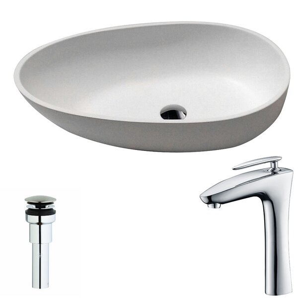 Trident Stone Oval Vessel Bathroom Sink with Faucet by ANZZI