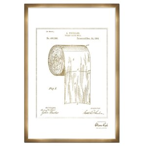'Toilet Paper Roll 1891' Framed Memorabilia in Gold by Oliver Gal