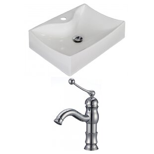 Affordable Price Ceramic 22 Wall Mount Bathroom Sink with Faucet ByAmerican Imaginations
