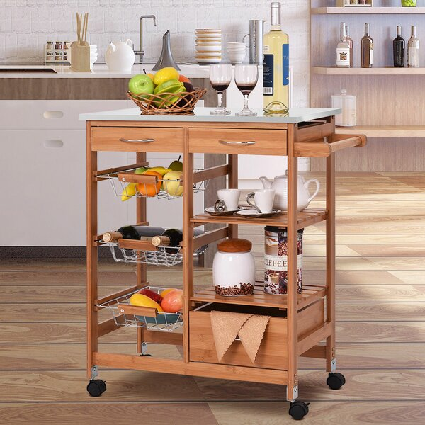 Kandy 4 Tier Kitchen Cart With Stainless Steel Top By Ebern Designs Best Design