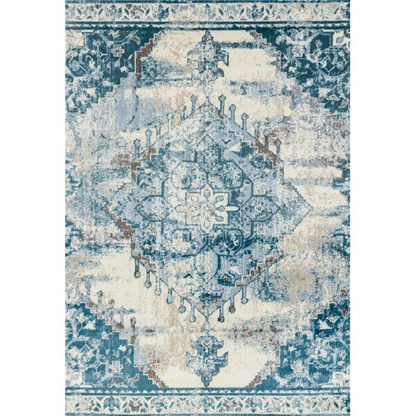 Rebekah Distressed Cream/Blue Area Rug by Bungalow Rose
