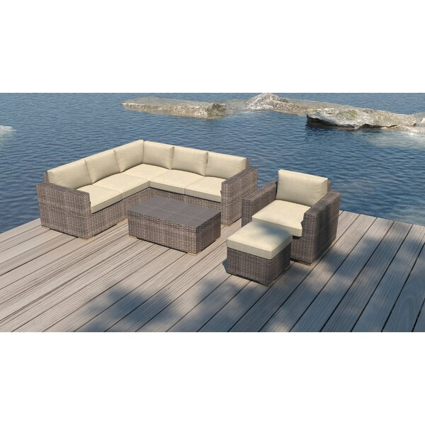 Holcomb 8 Piece Rattan Sectional Seating Group With Sunbrella Cushions By Rosecliff Heights