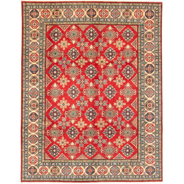 One-of-a-Kind Lodsworth Hand-Knotted 2010s Uzbek Gazni Red/Black 9' x 12' Wool Area Rug