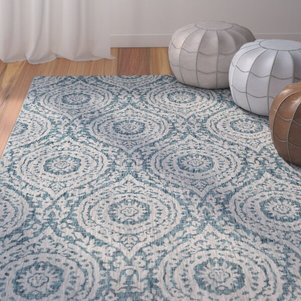 Summey Classic Floral and Plants Aqua Indoor/Outdoor Area Rug by Mistana