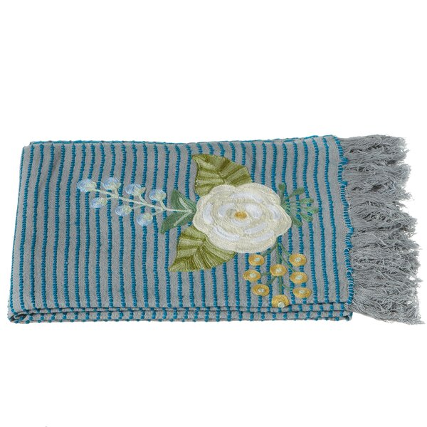 Cohutta Striped Embroidered Floral Throw by August Grove