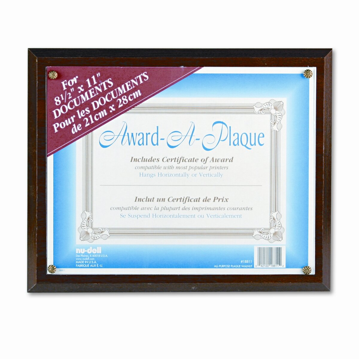 nu dell award a plaque document holder acrylic plastic. Black Bedroom Furniture Sets. Home Design Ideas