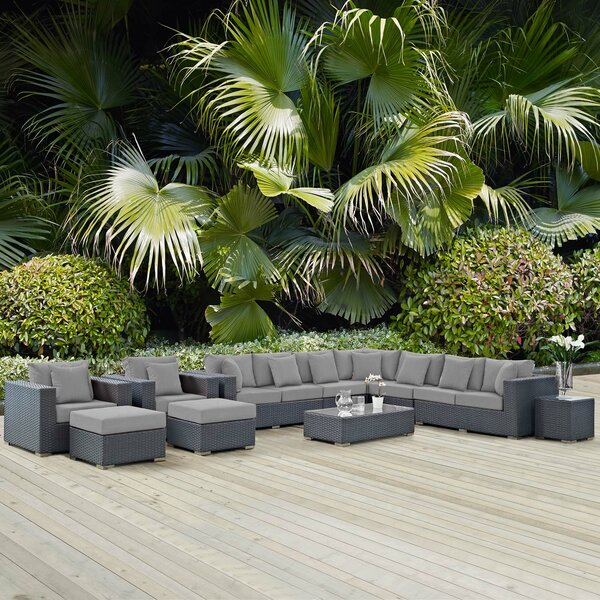 Leda 11 Piece Rattan Sunbrella Sectional Seating Group with Cushions by Brayden Studio