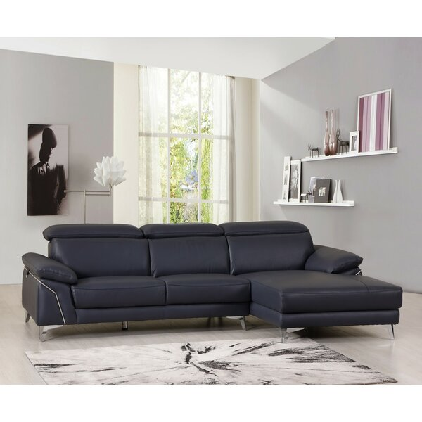 Amatia Leather Right Hand Facing Sectional By Orren Ellis