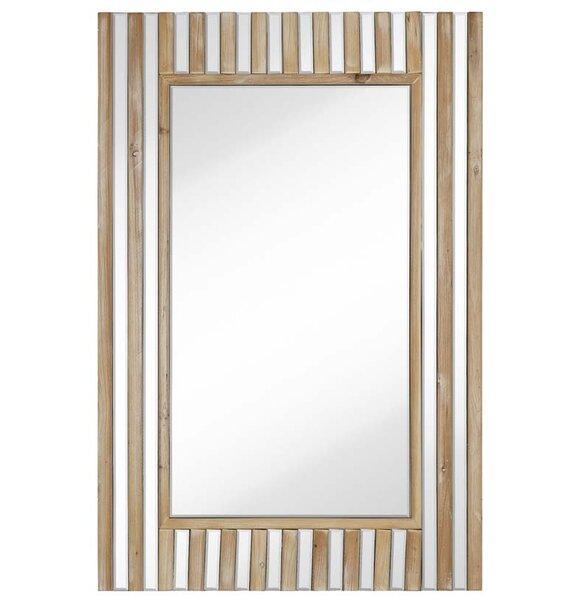 Rectangular Mirror With Natural Wood Stripes Beveled Glass Hanging Wall Mirror by Majestic Mirror