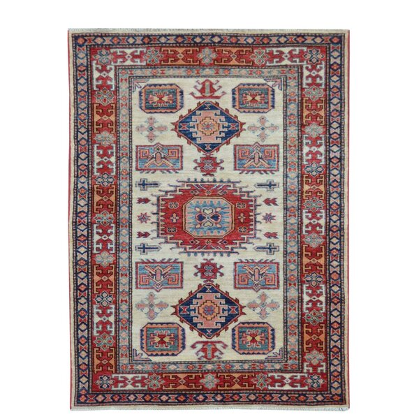 Kazak Hand-Knotted Beige/Red Area Rug by Wildon Home ®