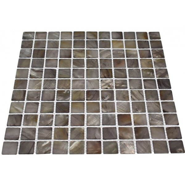 Noburu 1 x 1 Glass Pearl Shell Mosaic Tile in Gray by Splashback Tile