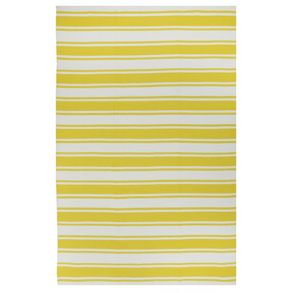 Lucky Hand-Woven Yellow/White  Indoor/Outdoor Area Rug by Fab Habitat