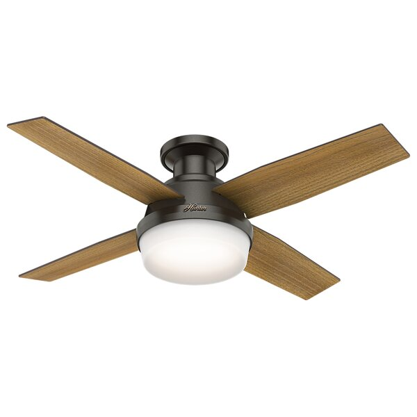 44 Dempsey Low Profile 4 Blade Ceiling Fan with Handheld Remote and Light by Hunter Fan